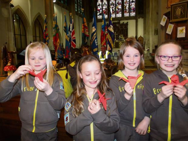 Clio Phillips, Jemima Levy, Caitlin Jones and Beatrix Lambley, from 3rd Alcester Brownies with their origami cranes. SP