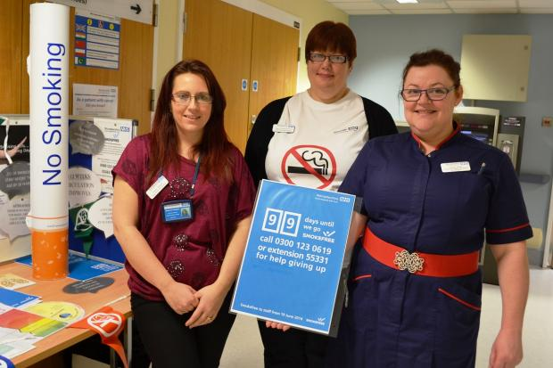 Redditch Advertiser: Preparing to go smoke free at the Alex in Redditch. Michelle Halford, pregnancy stop smoking advisor, Mary Cornford-Hill, a stop smoking advisor and Sarah King, divisional director of nursing – surgery. SP