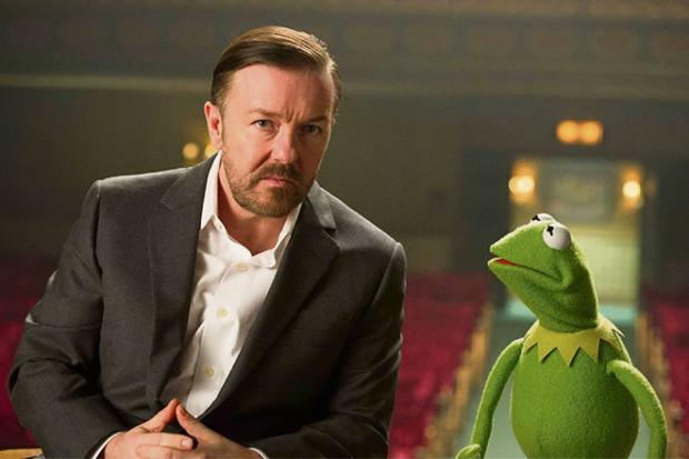 Ricky Gervais with Kermit.