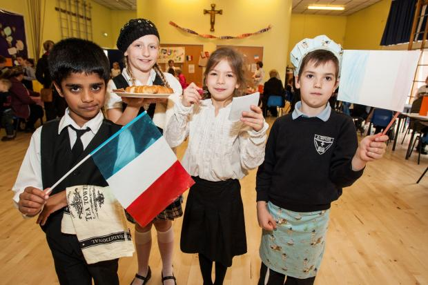 Daniel Mundackal, Maja Berk, Nicole Lenz and Ethan Wedgebury at the French cafe. Buy this photo RCR141403_02 from redditchadvertiser.co.uk/pictures or call 01527 889027
