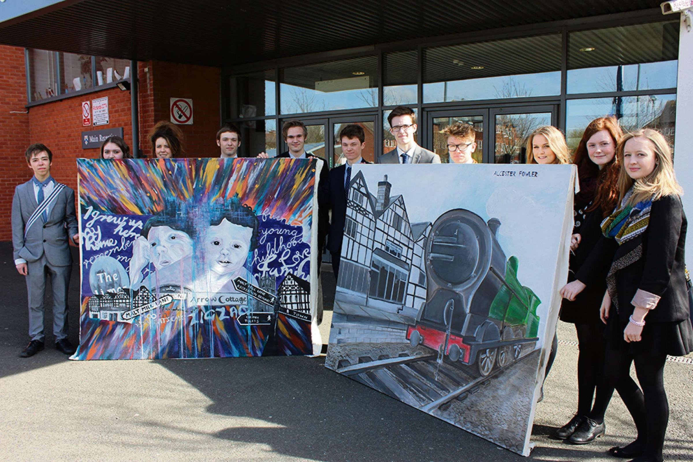 Students from Stratford upon Avon School with their masterpieces