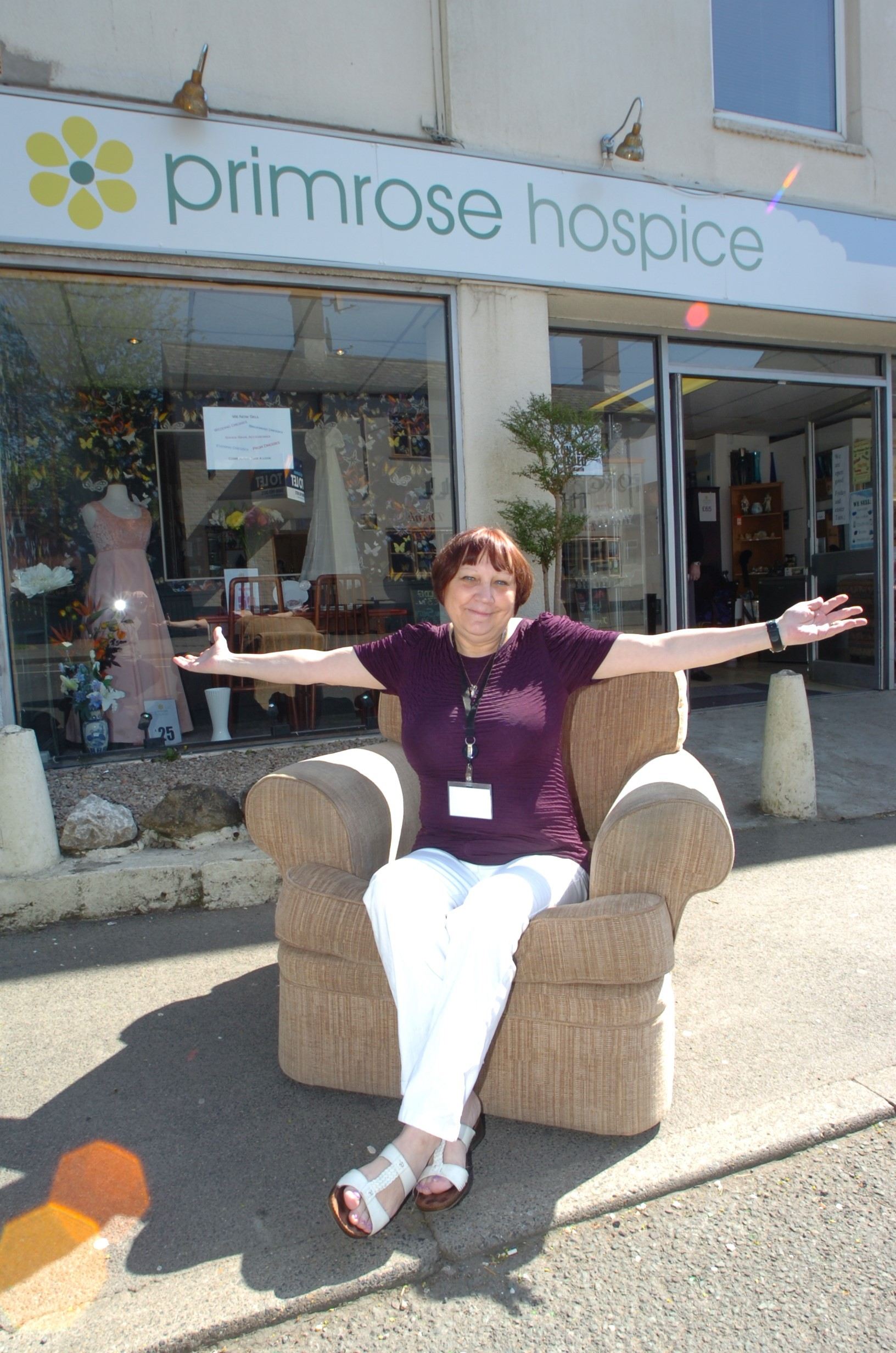 Manager Steph Cox outside the new Primrose Hospice shop. Buy photo RMM171401b from redditchadvetiser.co.uk/pictures or call 01527 889027