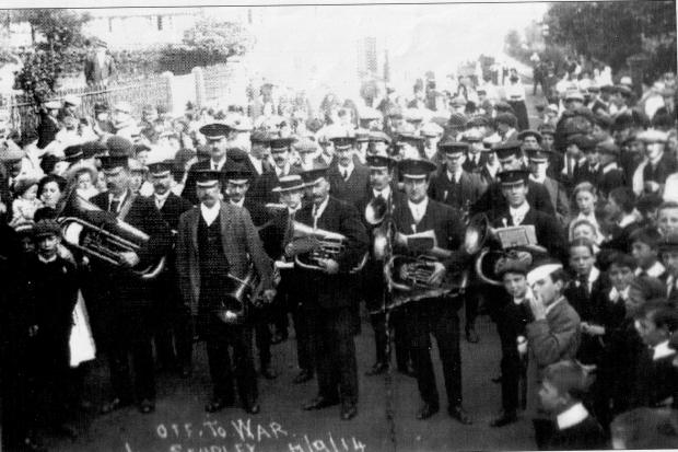 Studley Band in Priory Square 1914. The recruits going off to war.