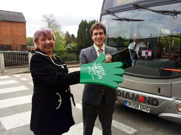 Karen Lumley MP with Stephen Haselden from Diamond Buses. SP