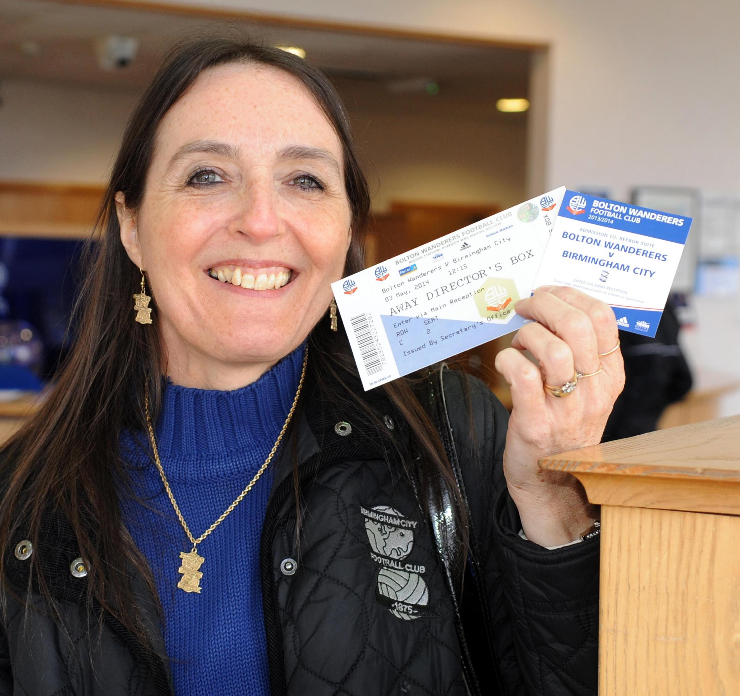 Lynda Court, with her VIP directors' lounge ticket. SP