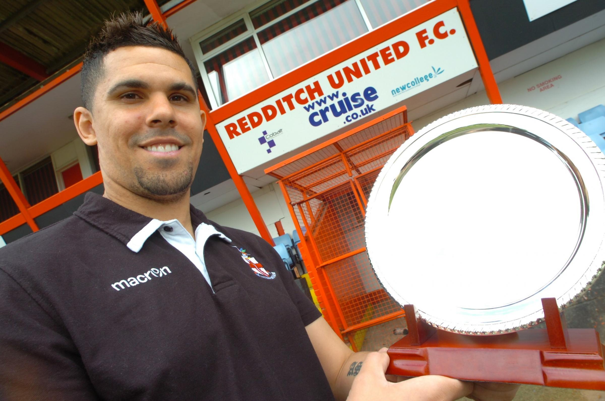 Manager Liam McDonald with the shield United earned for winning the Worcestershire Senior Cup. Picture: MARIE MYERS