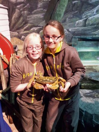 Crab-ulous:  KC Pearce, aged seven, and Milly Darby, eight, both from 7th Redditch Brownies.