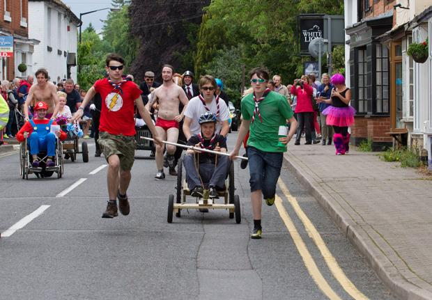 THEY'RE OFF: Pram races hurtle down Alcester High Street