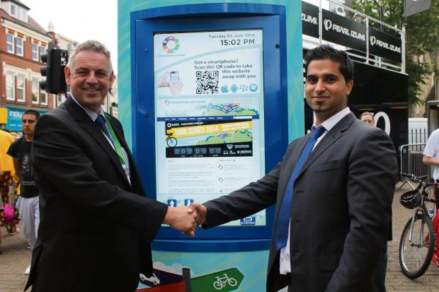 GONE DIGITAL: Jon Fraser from Worcestershire County Council and Mohammed Riaz from RSL Kiosks. SP