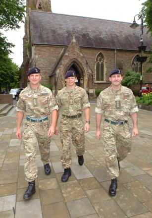 Cpt Martin Smith, Sgt Mark Reynolds and Cpt Andy Barnard from 37th Royal Signals Army Reserve Unit . Buy photo RMM241401b from redditchadvertiser.co.uk