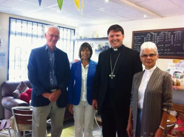 Walter Richards and Jenny Mason, shop committee members, with Bishop Graham and the Rev Sheila Banyard. Photo by shop volunteer Lousie Jordan