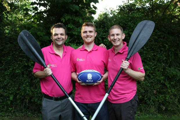 Alcester & Stratford District Round Table members Rob Iles, Rob Bradley and Nathan Rosewell prepare for the Punt Pedal.SP