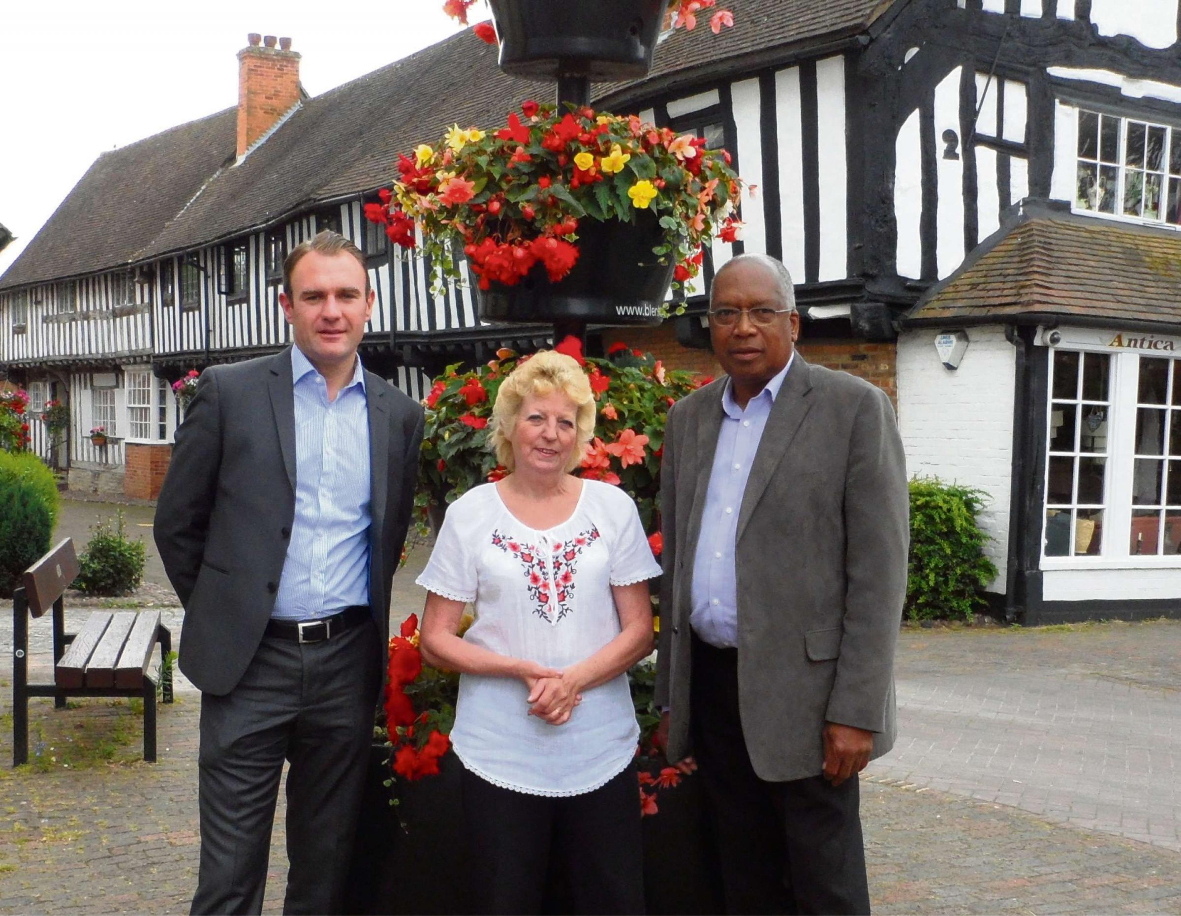Iwan Jones, managing director of Renaissance Villages, with Maggie Payne from Alcester in Bloom, and C