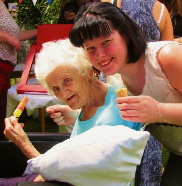 Redditch Advertiser: SUMMER FETE FUN: Grosvenor House resident Elsie Tomkins with Zoe Hughes, the home's activities co-ordinator. SP