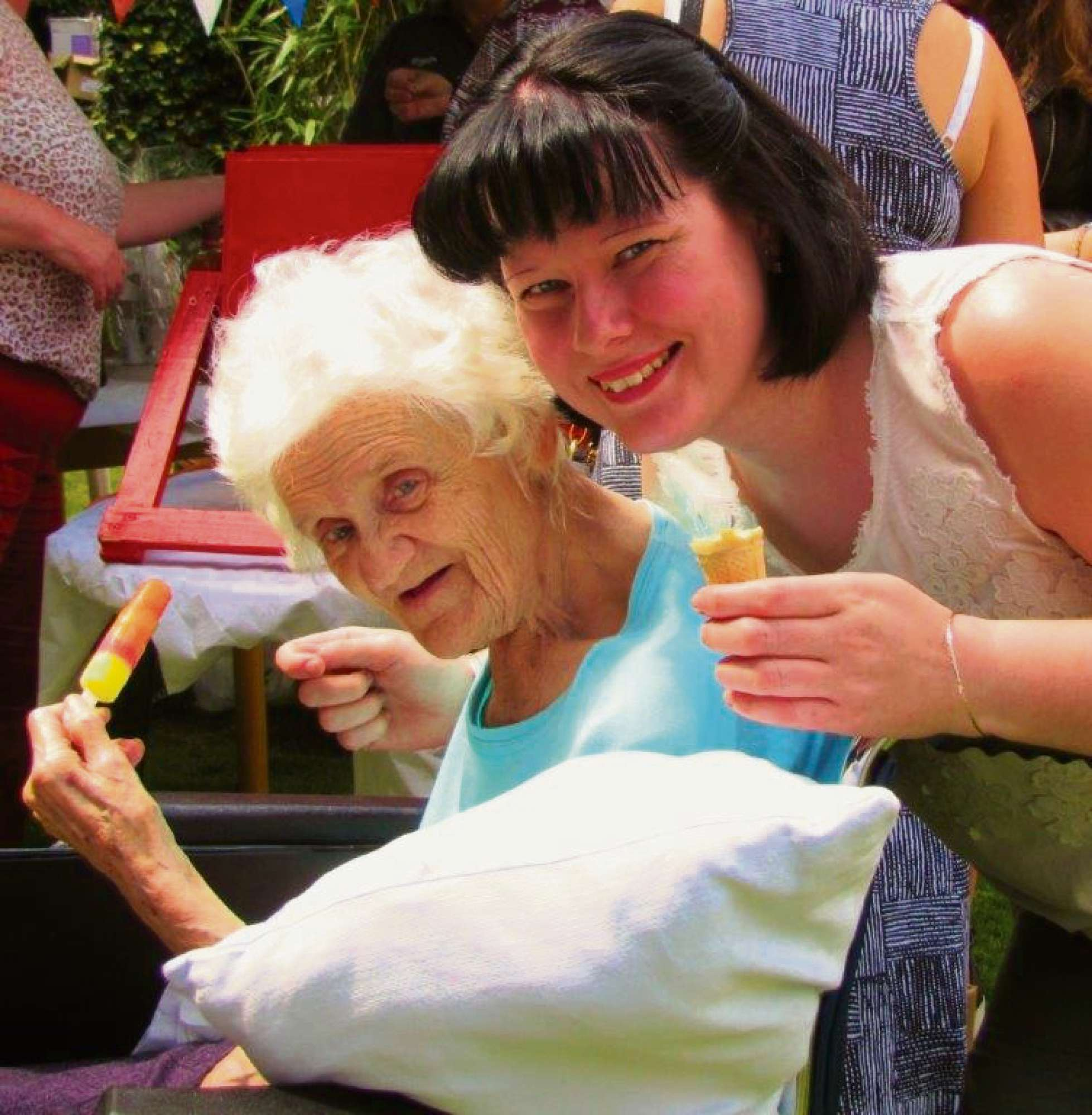SUMMER FETE FUN: Grosvenor House resident Elsie Tomkins with Zoe Hughes, the home's activities co-ordinator. SP