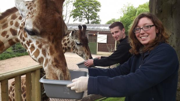 ANIMAL MAGIC: Nick Brown and Amanda Lowe are zoo keepers for the day. SP