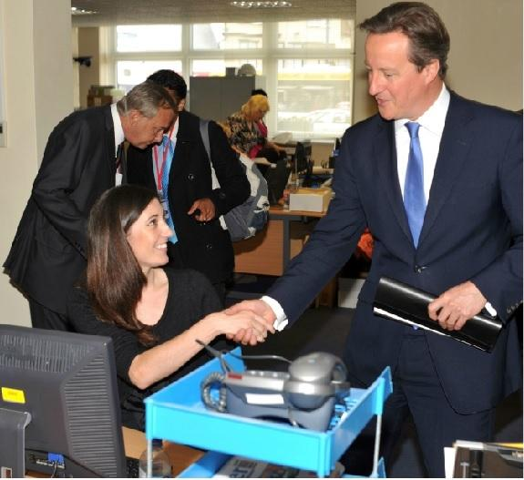 PM David Cameron with Advertiser reporter Liz Sharpe
