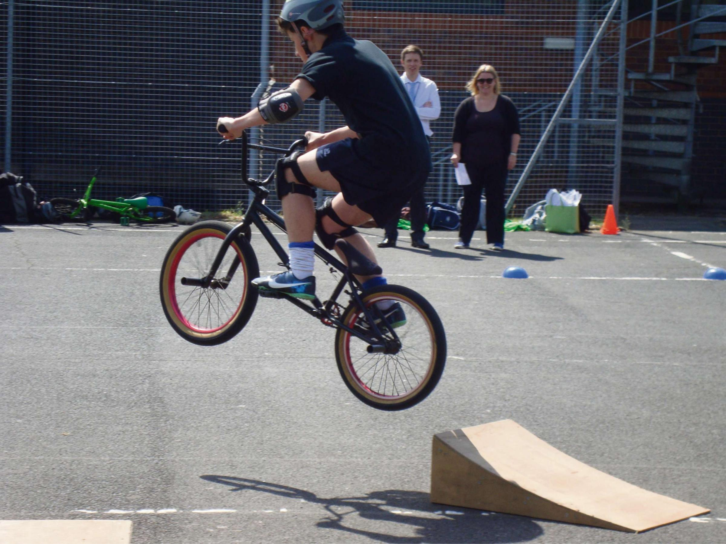 Taking a risk: Pupils from Trinity High School recently took part in a special BMX Workshop.