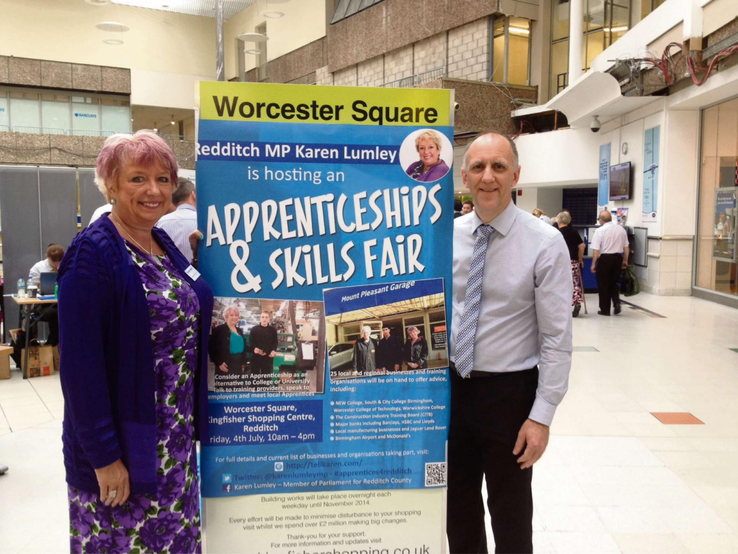 MP Karen Lumley with Ken Williams from the Kingfisher Centre.