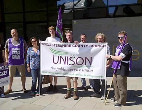 The Unison picket line outside County Hall yesterday