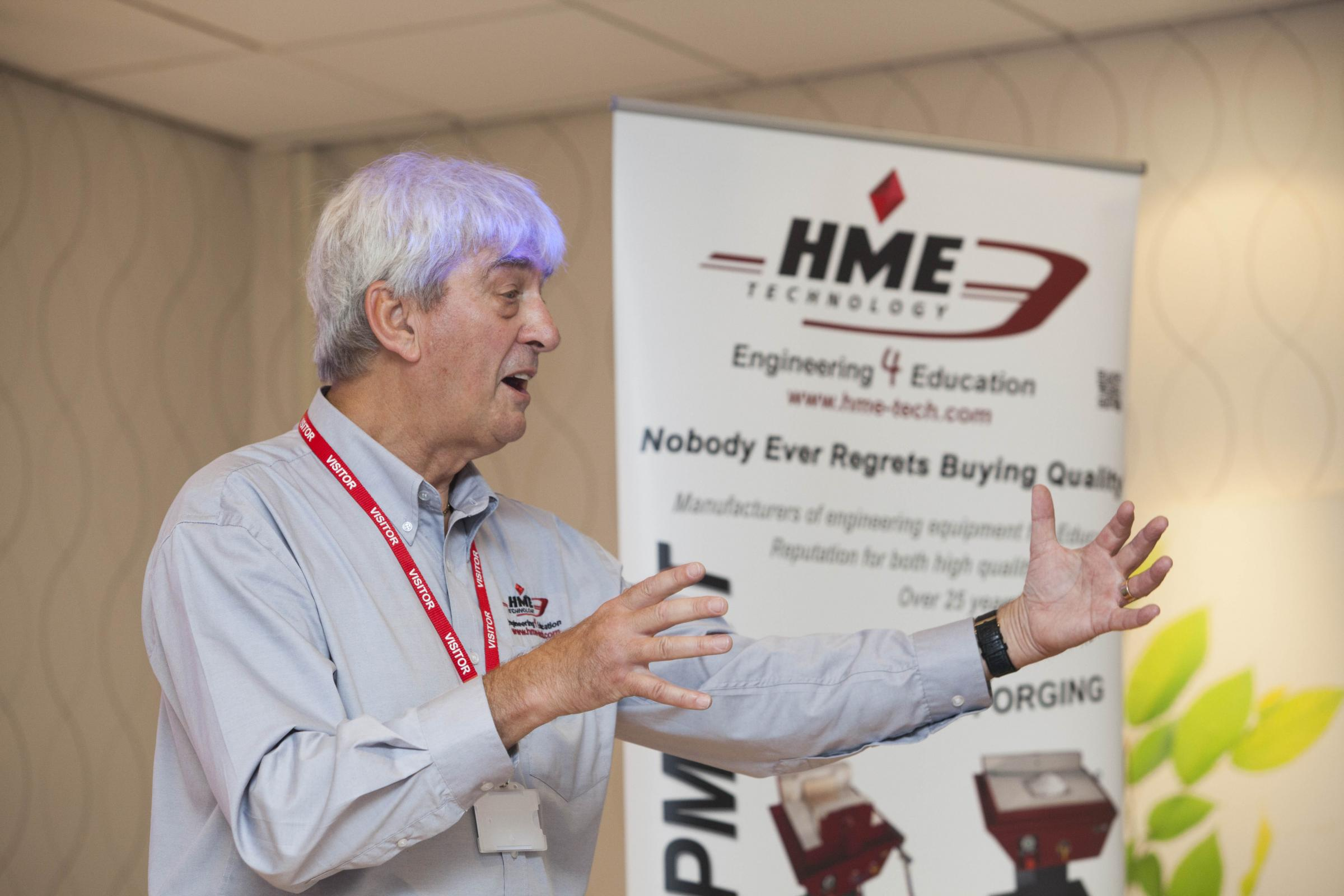 Guest presenter Martyn Hale, chairman of HME Technology, during his talk.