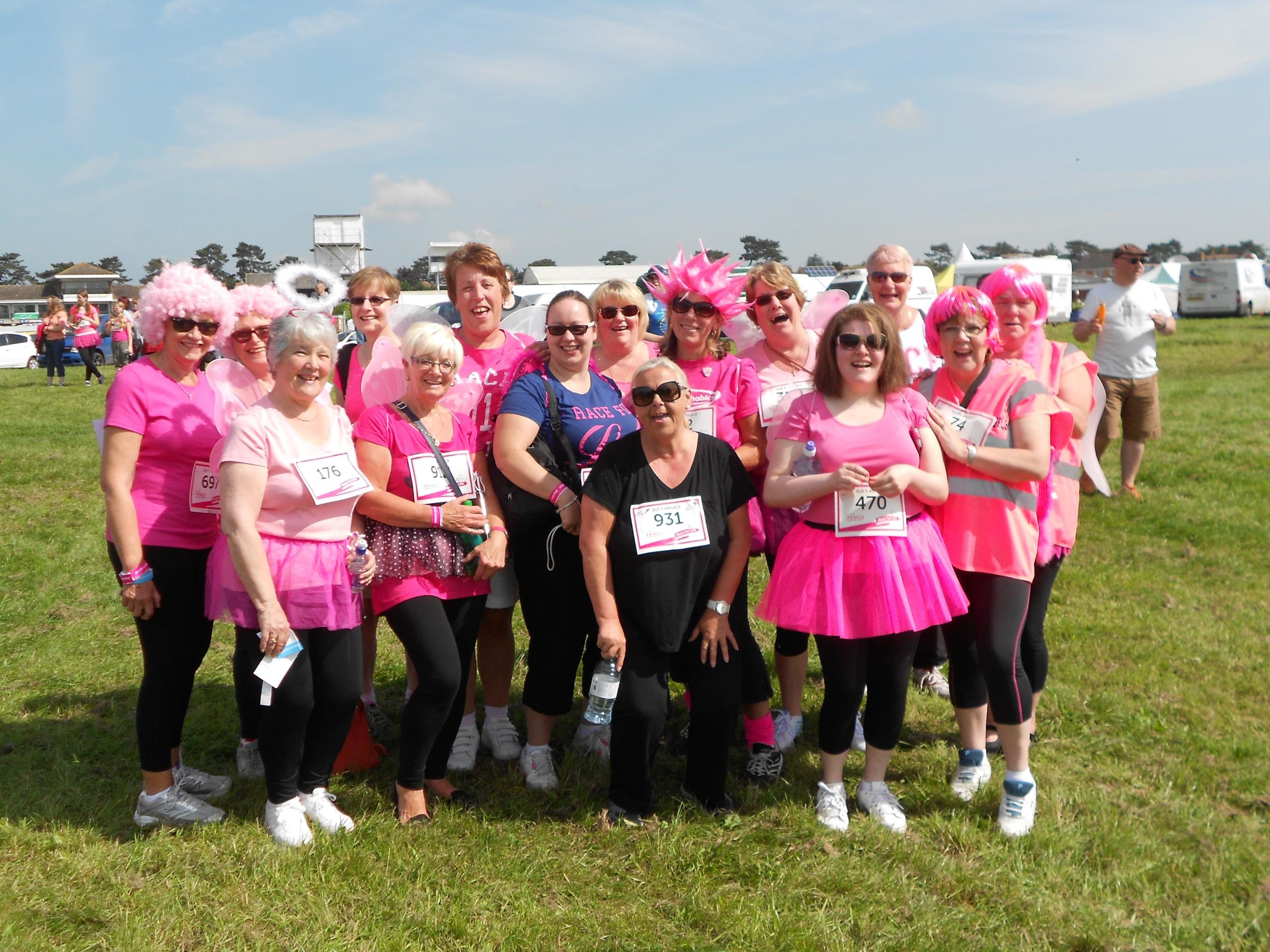 Sue's Angels raised £1,080 racing in Stratford Upon Avon. SP