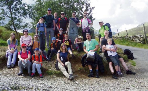 Members of Kings Norton Rhinos children's club with family members and coaches on Snowdon. S