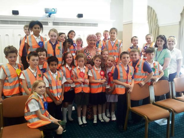 Oak Hill First School pupils with Karen Lumley MP (centre) during their visit to Parliament. SP
