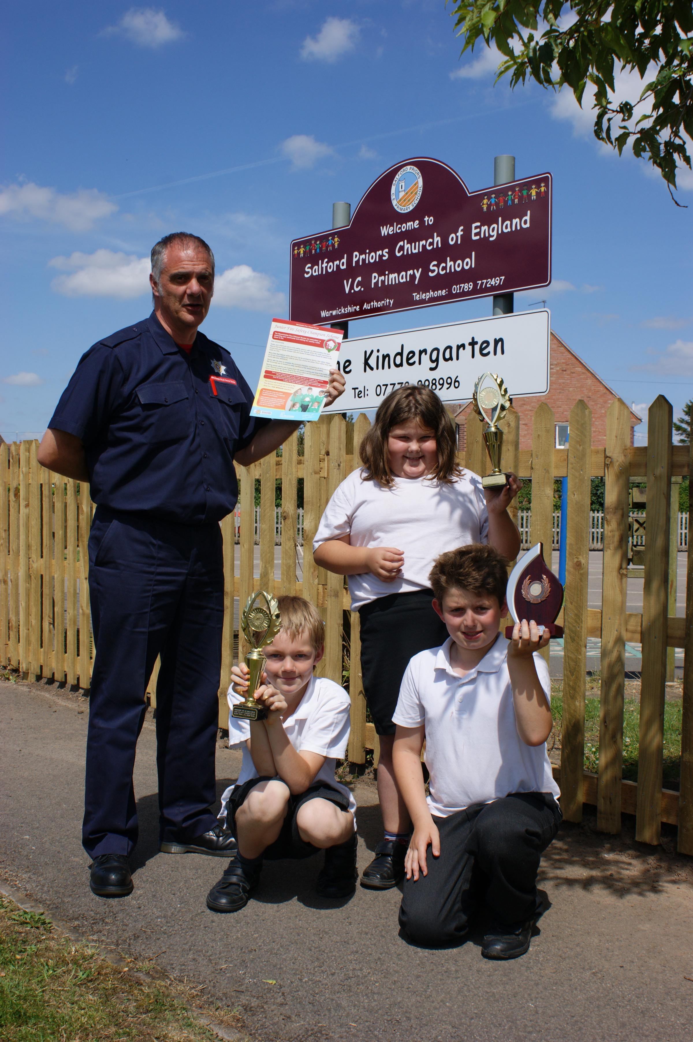 Pupils at Salford Priors received their third award for their conscientious approach  to fire safety.