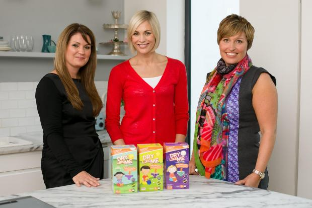 Jenni Falconer (centre) took part in Potty Training Live run by Judith Hough (left) and Diane Titterton (right) of Dry Like Me.