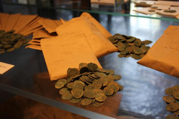 Some of the 4,000 Roman coins found at Bredon Hill.