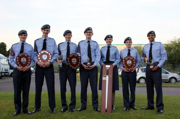 Members of 216 (Redditch) Squadron who were honoured at a recent presentation evening.