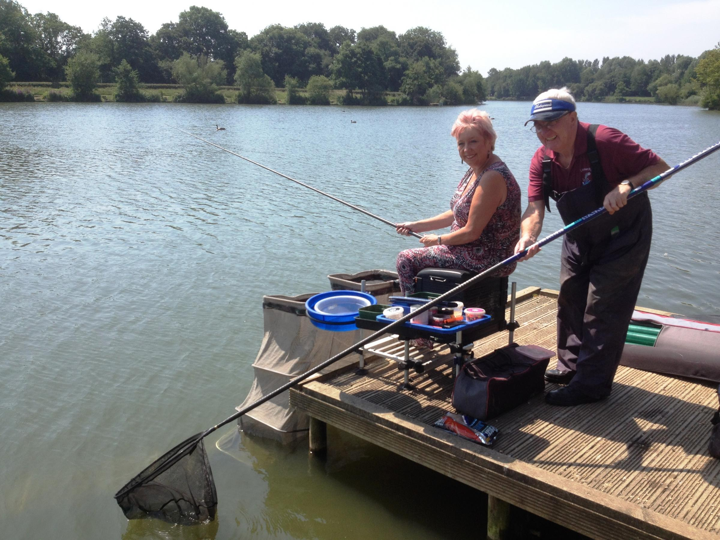 Karen Lumley MP and Astwood Bank Angling Club member J