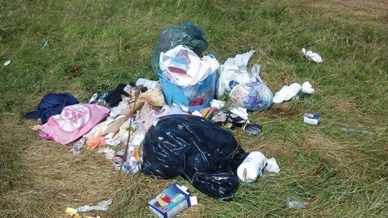 An example of the piles of rubbish being created. Many photographs from the action group shows what appears to be human excrement on tissues and wipes, which have been dumped around the area. SP