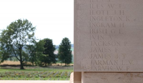 Seven letters, one life. George Irish's name on the Thievpal Memorial, picture by Hattie Miles