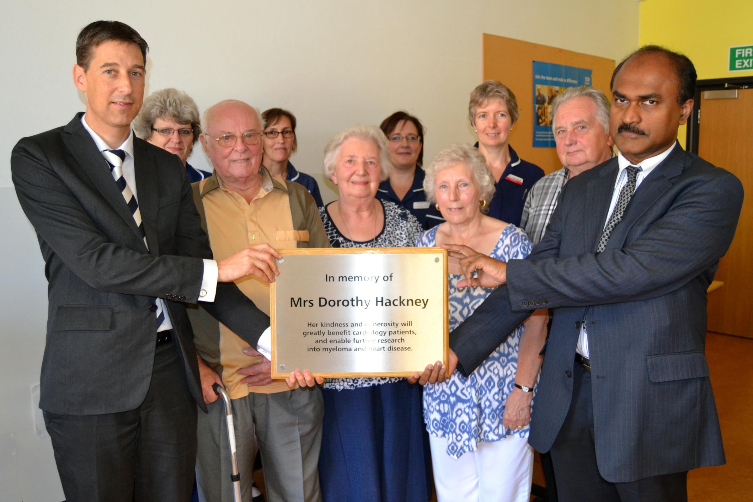 Dr Jasper Trevelyan and Dr Salim Shafeek with Mrs Hackney's friends and executors Ray and Pat Merrick and her cousin Dorothy Hunt with her husband Graham Hunt. Back – cardiology and haematology nurses Kim Bull, Kate Amor, Lisa Rowberry and Gay