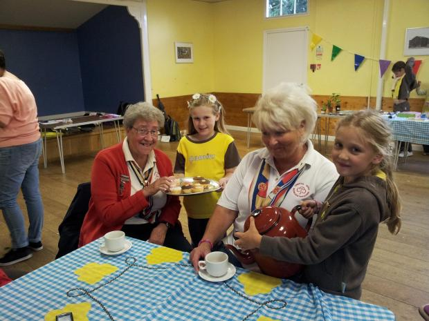 Members of Webheath Brownies and Trefoil Guild at the tea party. SP