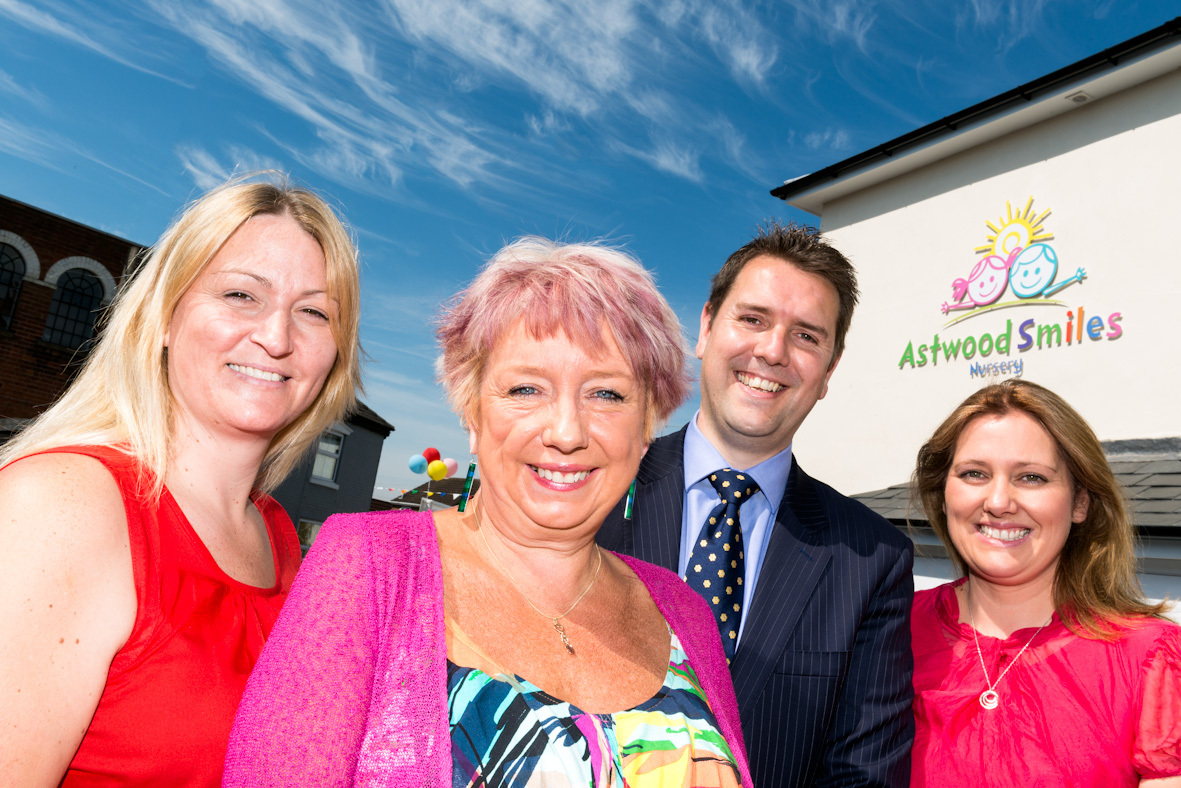 Astwood Smiles Nursery manager Alison Byng, MP Karen Lumley, and nursery owners Mark and Olivia Waters. Photograph by Alex Bradbury