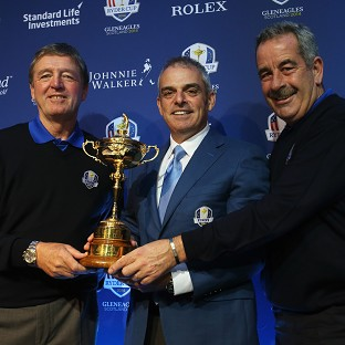 Paul McGinley, pictured centre, with Des Smyth, left, and Sam Torrance, right, face tough decisions on Monday
