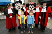 Alcester Court Leet arranged for Mickey and Minnie Mouse to meet and greet children around the town. Pictured:  Alex Grodzki, six, and Jacob Pawlouski also six. To buy photo, RCR361403, visit www.redditchadvertiser.co.uk/pictures.