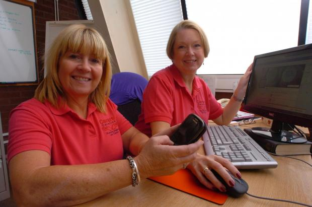 Vote for us: Wendy Stokes and Wendy Pickford from Carers Careline. Buy this photo RMM361401b at redditchadvertiser.co.uk/pictures or call 01384 358000