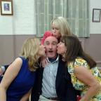 Redditch Advertiser: Steve Rossiter (centre ) as Bernard with air hostess fiancés  Alison Trombley  as Gabriella, Jessica Horabin as Gloria and Alison Spencer as Gretchen.