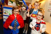 Wootton Wawen CofE Primary School held a super heroes day to raise cash for Children in Need.From left: Mia Titterton, aged 10, Rosa Ridley, nine, Lily Judge-Baylis, nine, Leo Bartlett, 10, and Joshua Tubbs ,seven. To buy picture, RCR471401_01, visit redd
