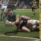Redditch Advertiser: George North scored two tries before going off with a head injury
