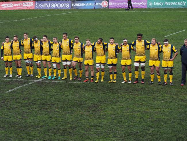 Worcester Warriors' players line-up at the Slava Stadium. Picture: STEPHEN HODGSON