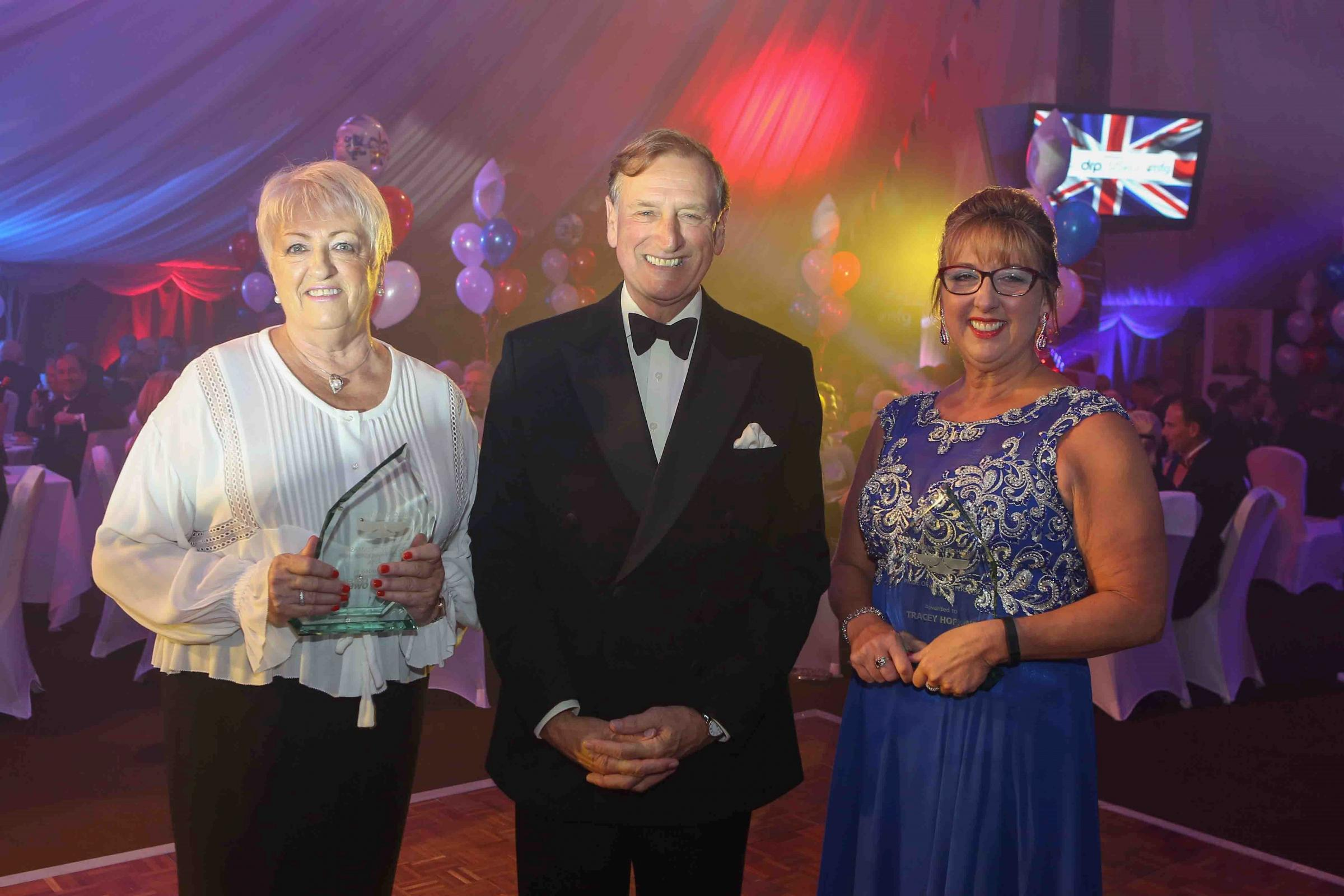 AWARD: Judy Owen and Tracey Hopkins with Lt Col Patrick Holcroft, Lord Lieutenant of Worcestershire.