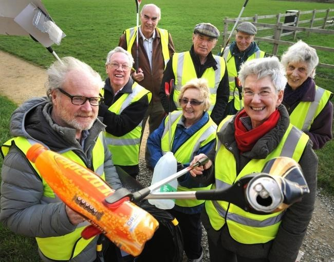 BIG SPRING CLEAN: Richard Hester, Susan Juned, Terry and Chris Scott, Bill Goodall, Paul Twentyman, Doreen Shaw and Derek Spencer members of Little Free Alcester (pictured in 2016).