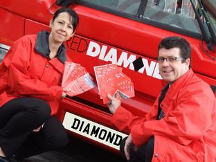 Angie Boulton, operations manager, and Austin Birks, commercial manager of Diamond Red buses.