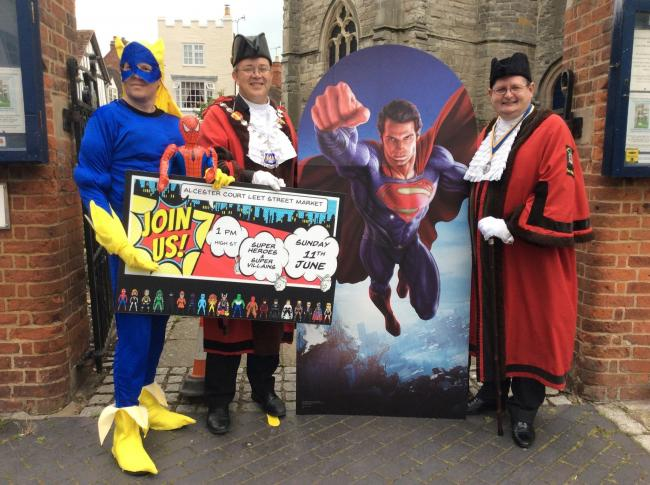 High Bailiff Ian Whitehead and Low Bailiff Steven Brown with Bananaman (left).