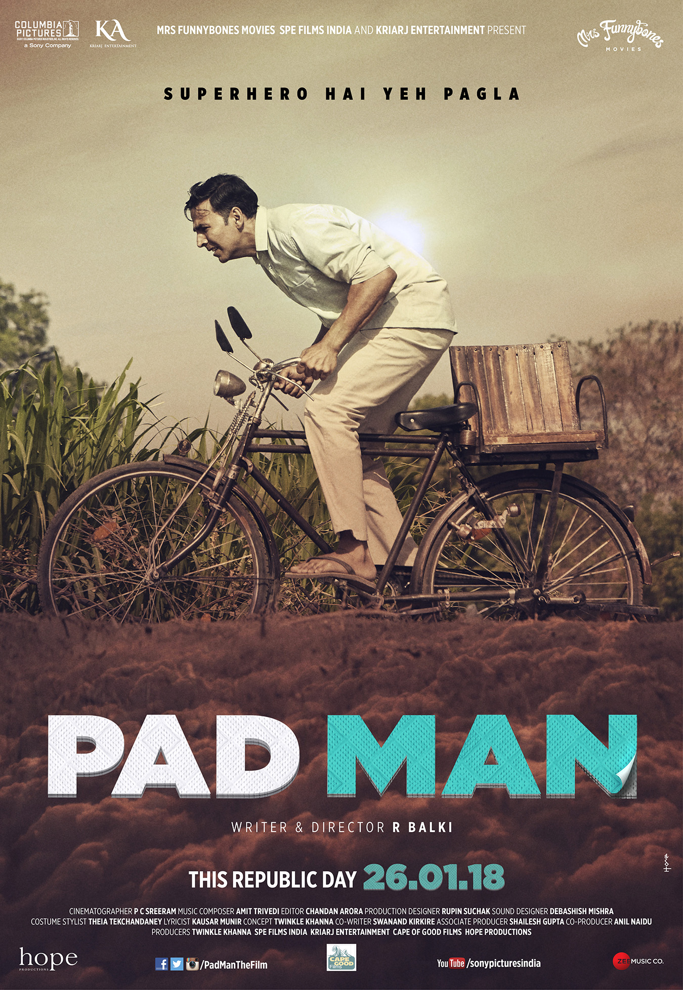 NOT YOUR AVERAGE SUPERHERO FILM:  AKSHAY KUMAR FIGHTS FOR MENSTURAL HYGIENE AS PAD MAN